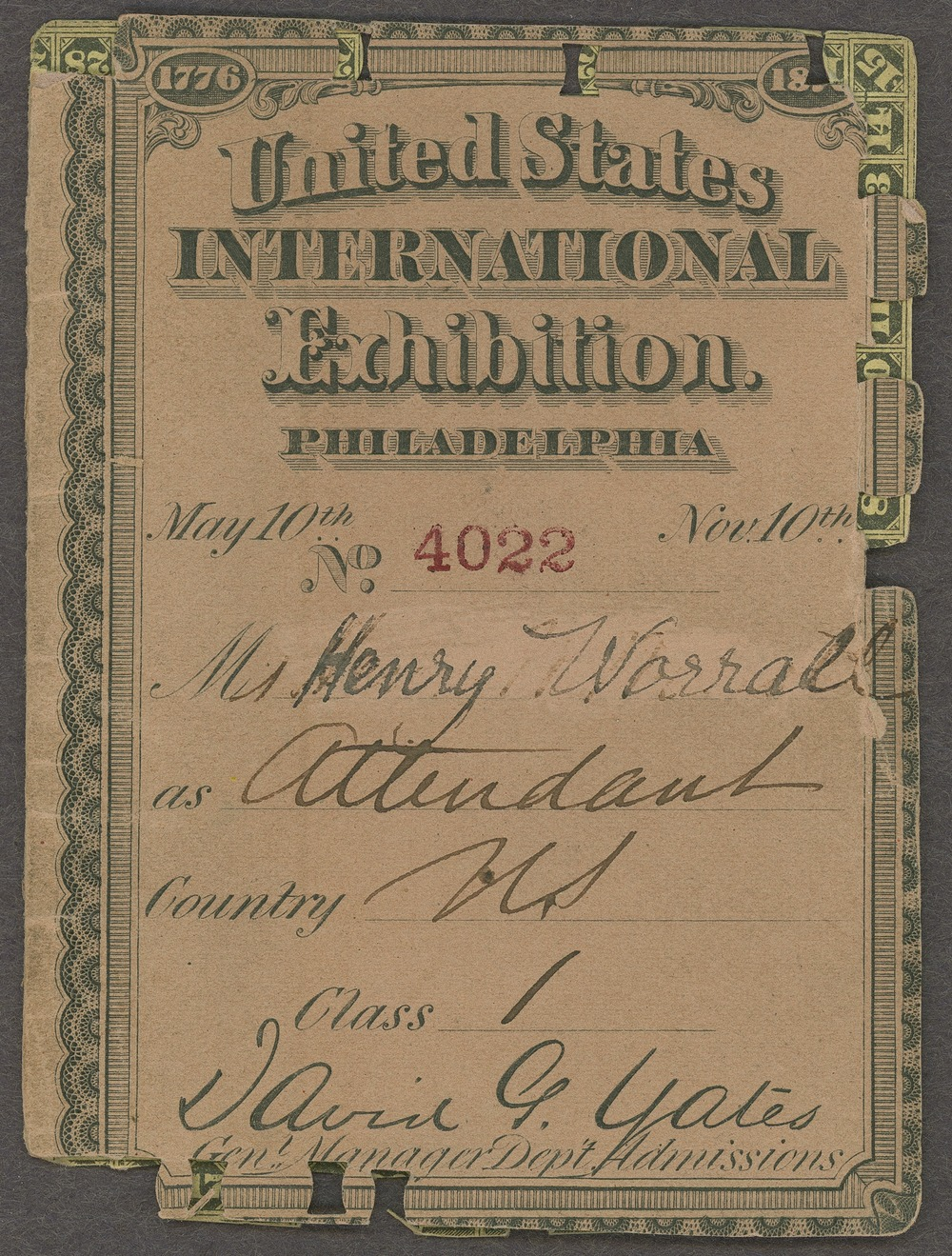 Henry Worrall United States International Exhibition ticket - 1