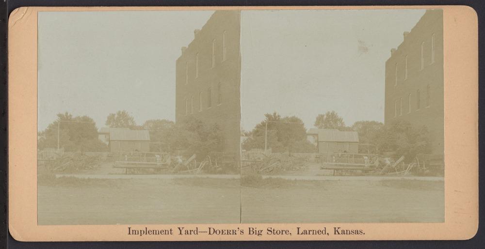 Doerr's Big Store in Larned, Kansas - Implement yard at Doerr's Big Store.  *3