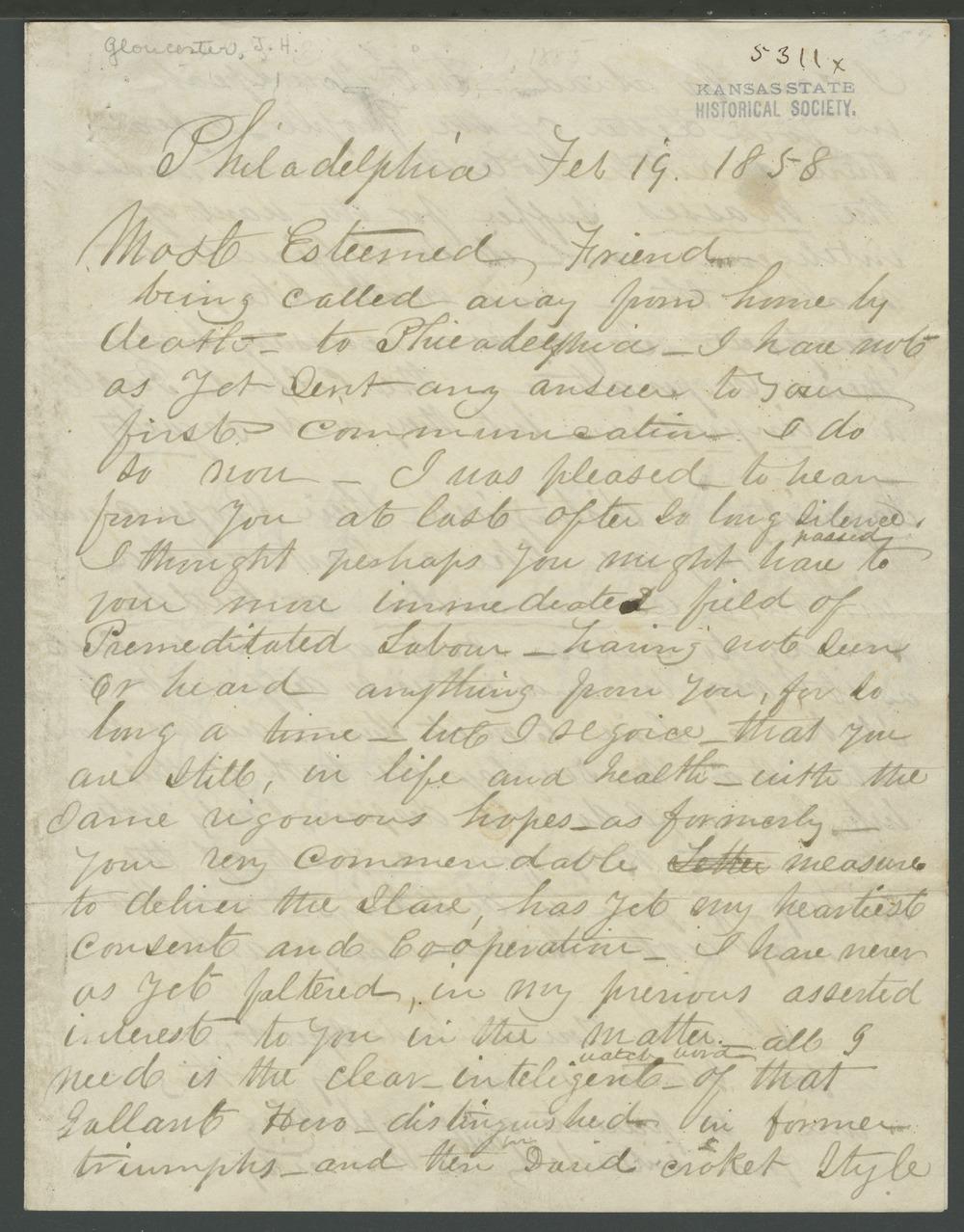 James N. Gloucester to John Brown - 1
