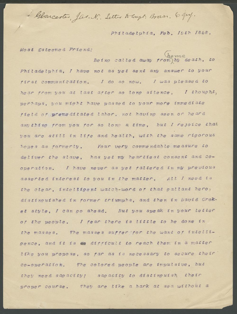 James N. Gloucester to John Brown - 5