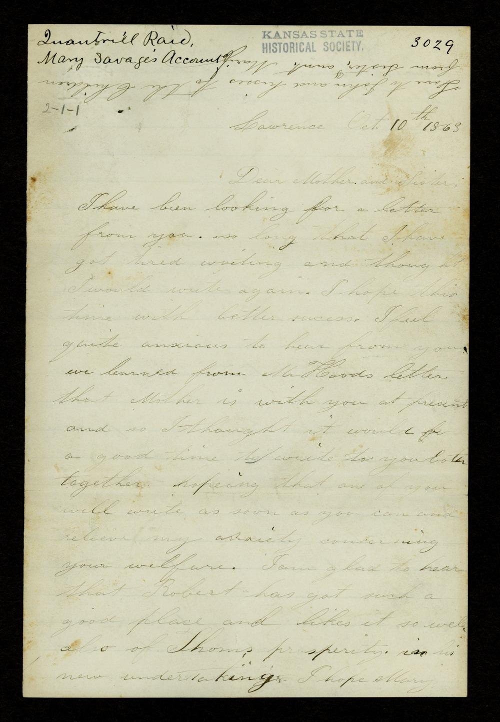 Mary Savage correspondence - 1