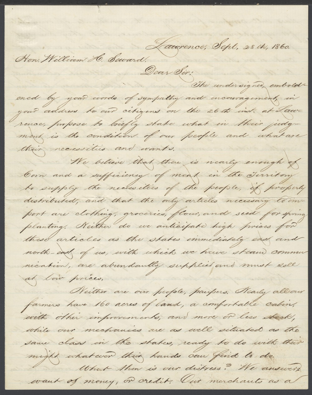 Charles Robinson and James M. Winchell to William H. Seward - 1