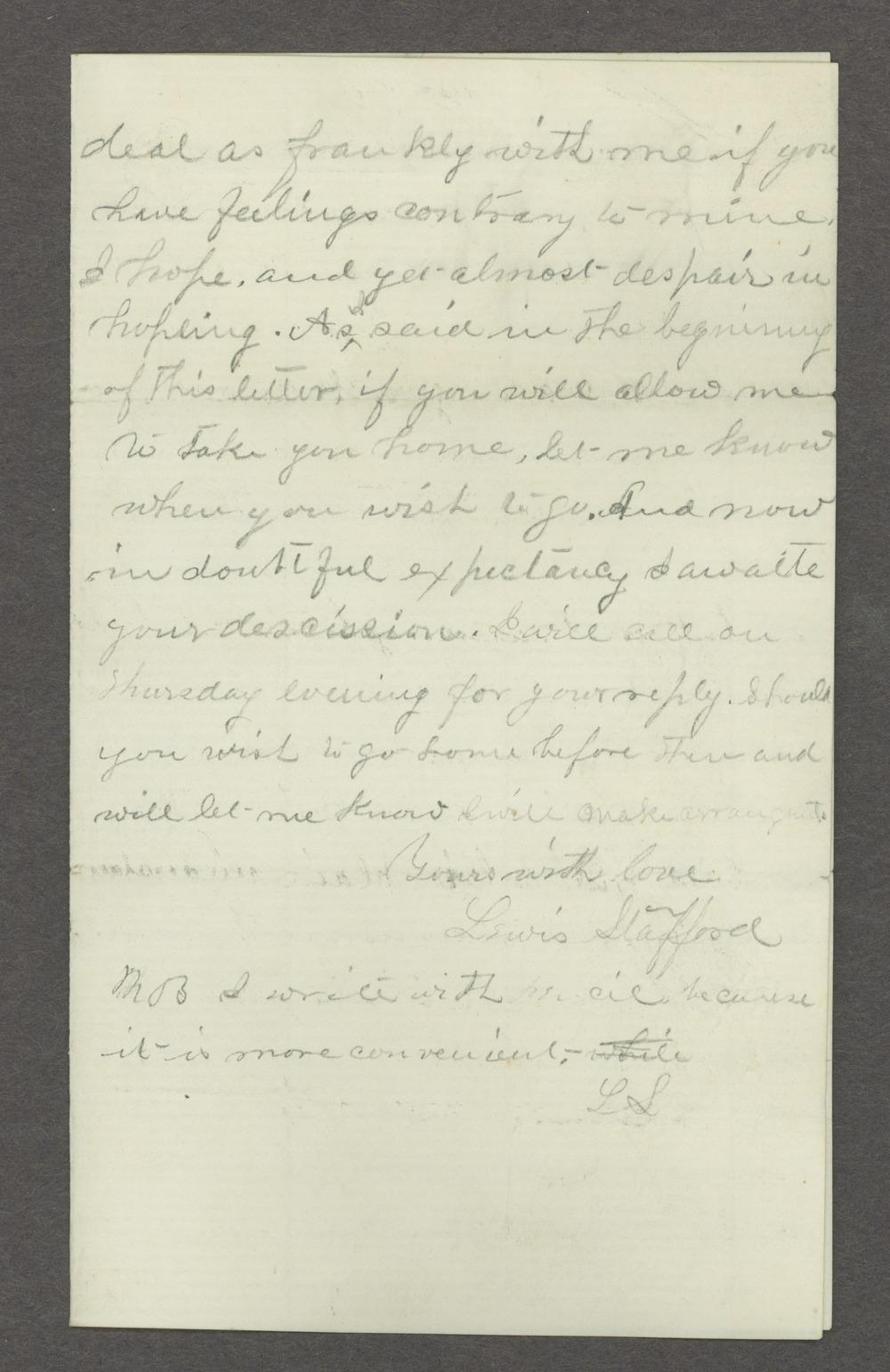 Lewis Stafford to Kate Newland correspondence - 6