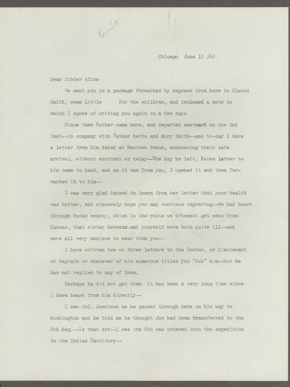 Joseph H. Trego correspondence - 1 [Box 1 Folder 3]
