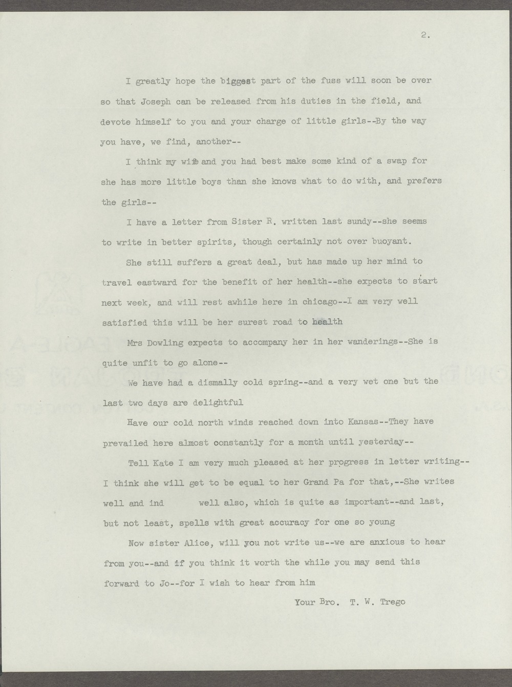 Joseph H. Trego correspondence - 2