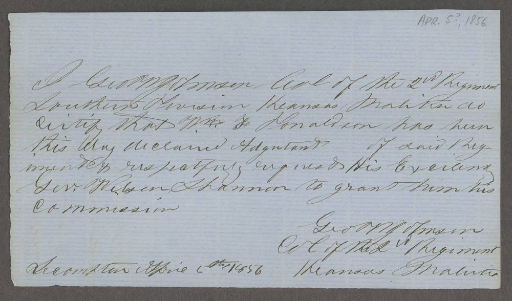 Southern division and independent companies, Kansas Territory militia - 1