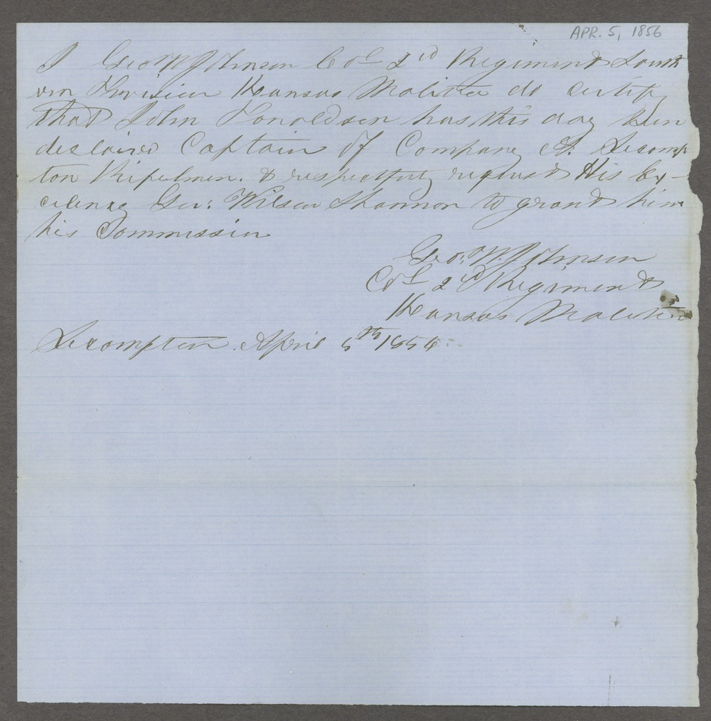 Southern division and independent companies, Kansas Territory militia - 9