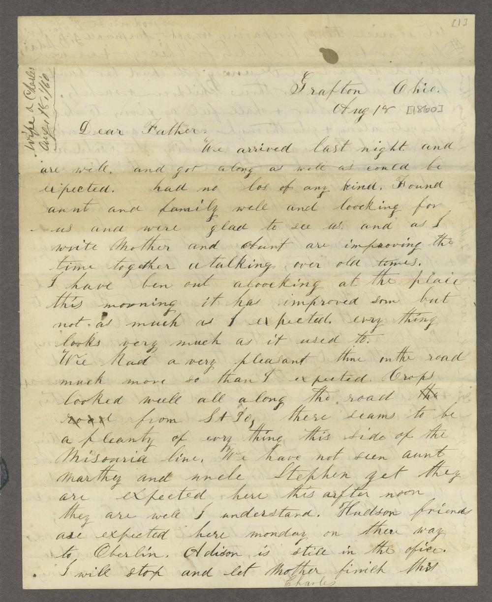 Correspondence between Samuel Lyle Adair, Florella Brown Adair, and their children - 1