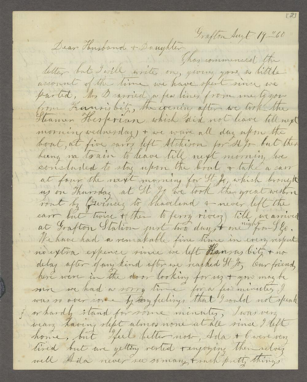 Correspondence between Samuel Lyle Adair, Florella Brown Adair, and their children - 3