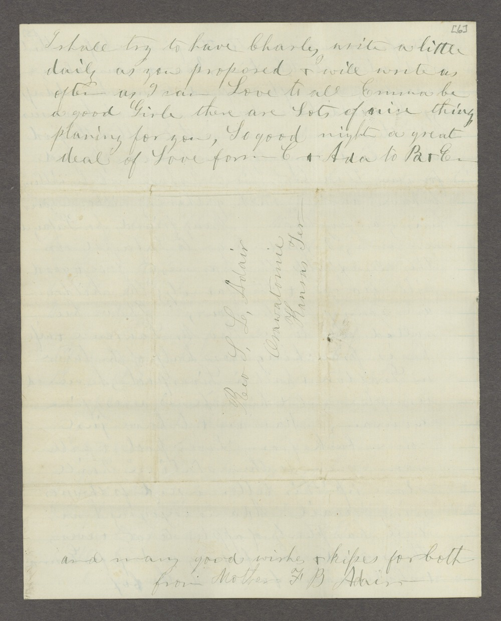 Correspondence between Samuel Lyle Adair, Florella Brown Adair, and their children - 8