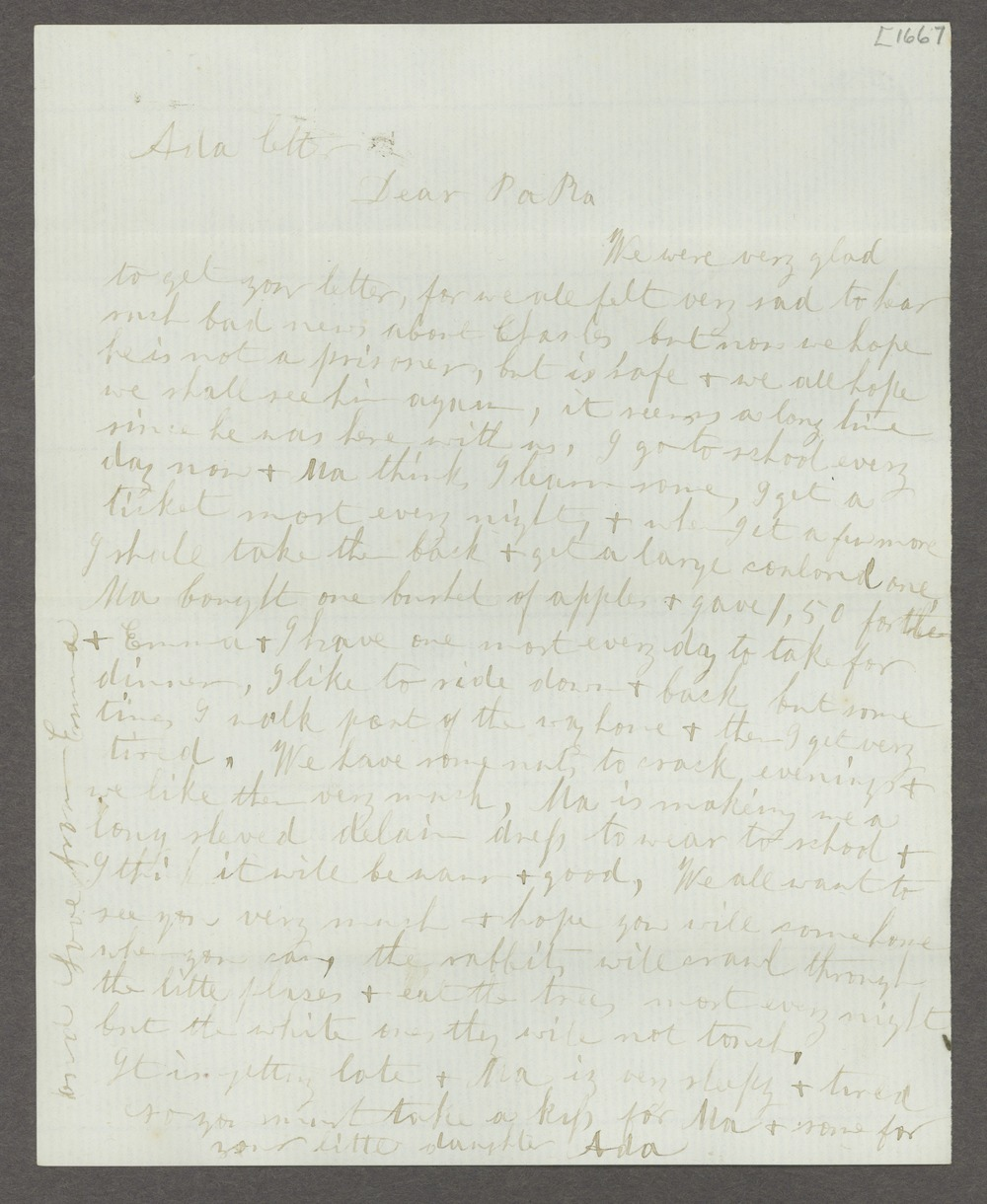 Correspondence between Samuel Lyle Adair, Florella Brown Adair, and their children - 212