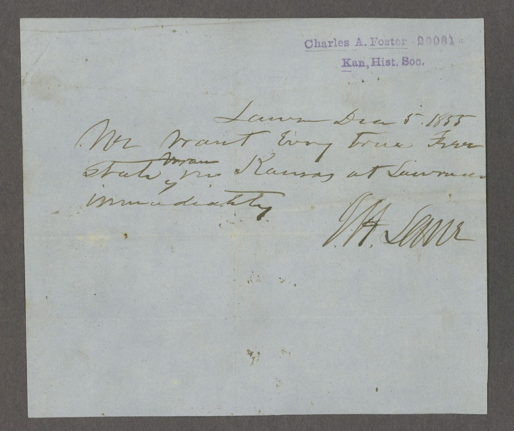 James H. Lane to Charles Foster - 1