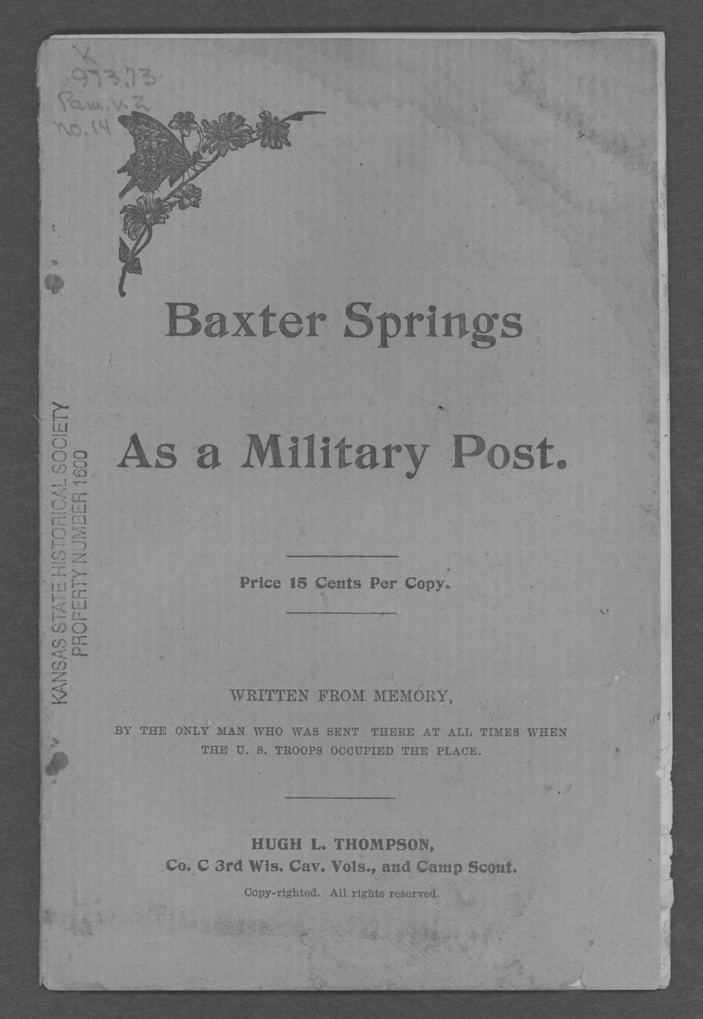 Baxter Springs as a military post - Front Cover
