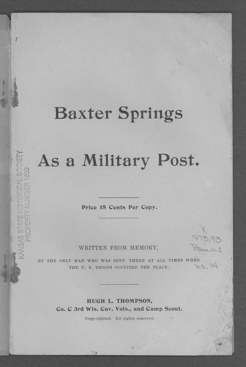 Baxter Springs as a military post - Title Page