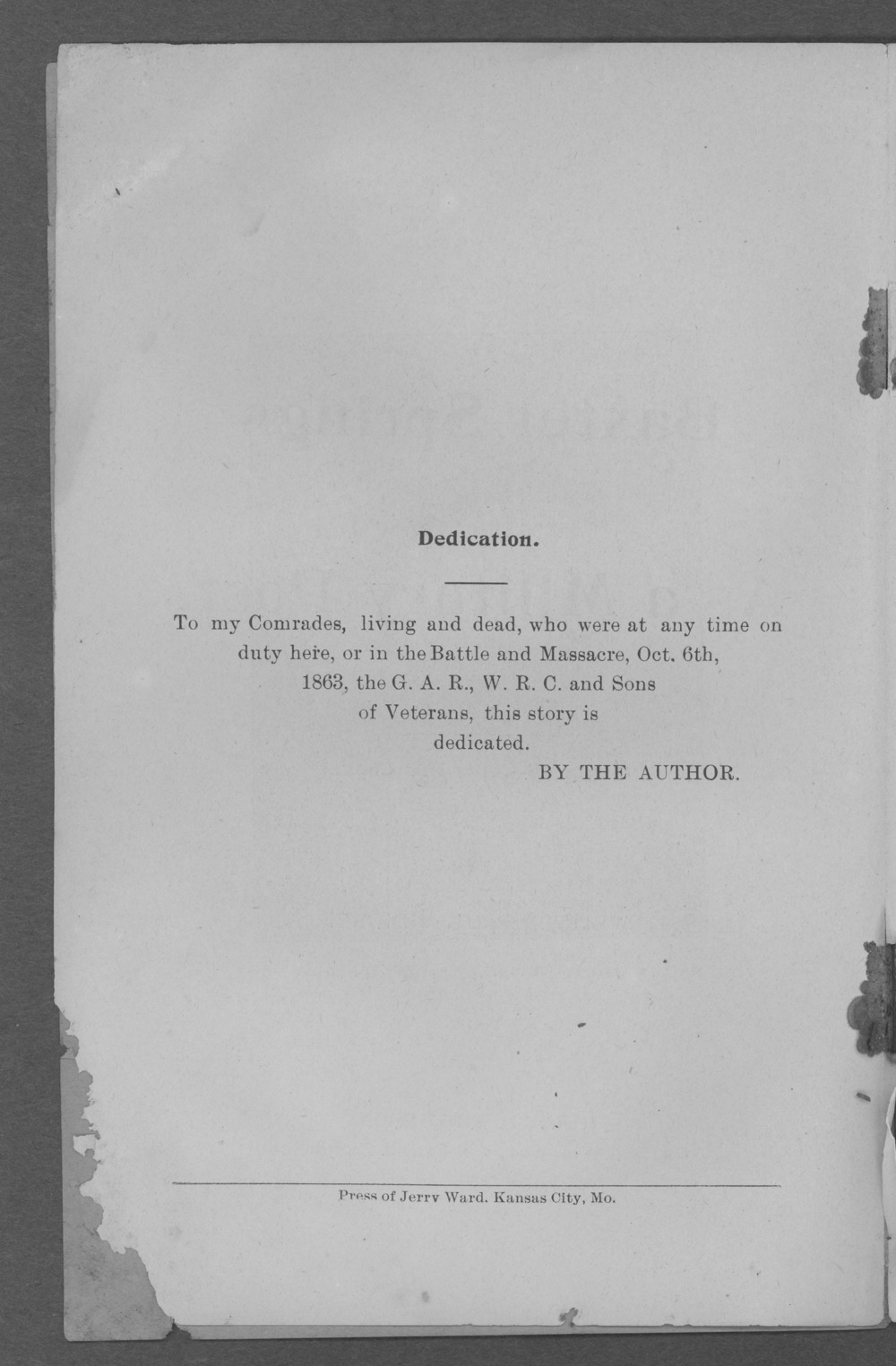 Baxter Springs as a military post - Dedication Page