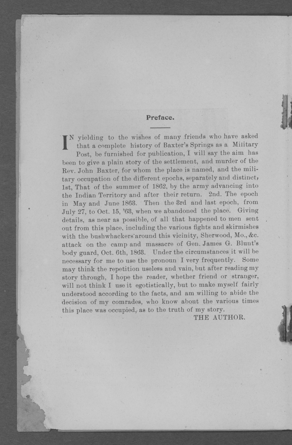 Baxter Springs as a military post - Preface