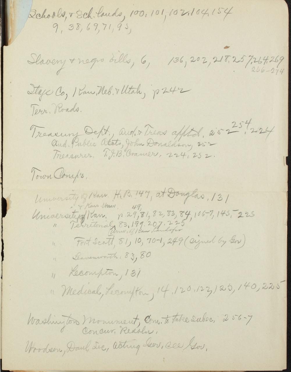 Kansas Territory council journal - Index