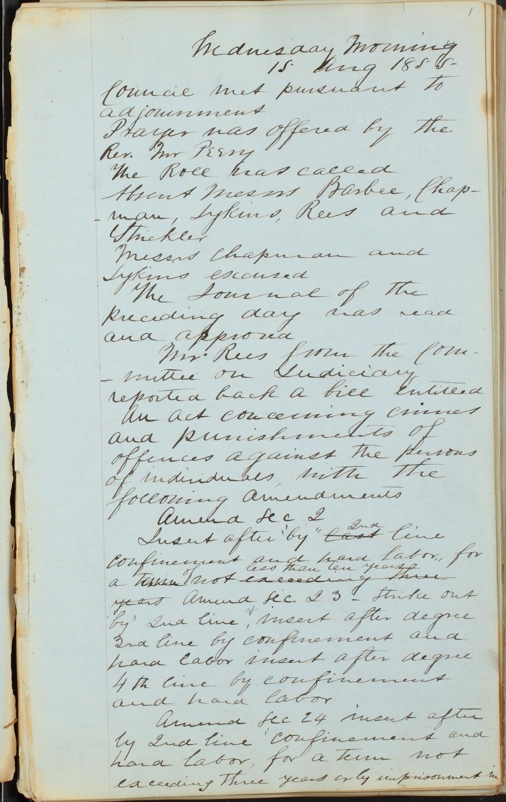 Kansas Territory council journal - 1
