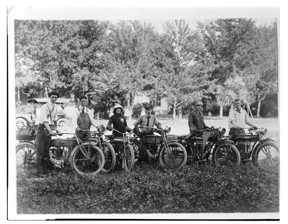 Group of six motorcyclists, Kansas Short Grass Motorcycle Club Tour