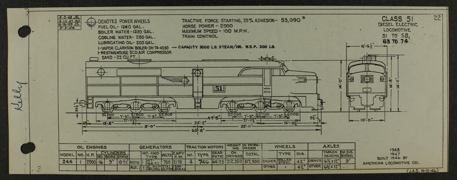Atchison, Topeka and Santa Fe diesel engine diagrams and blueprints - 6