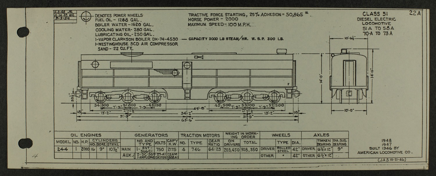 Atchison, Topeka and Santa Fe diesel engine diagrams and blueprints - 7