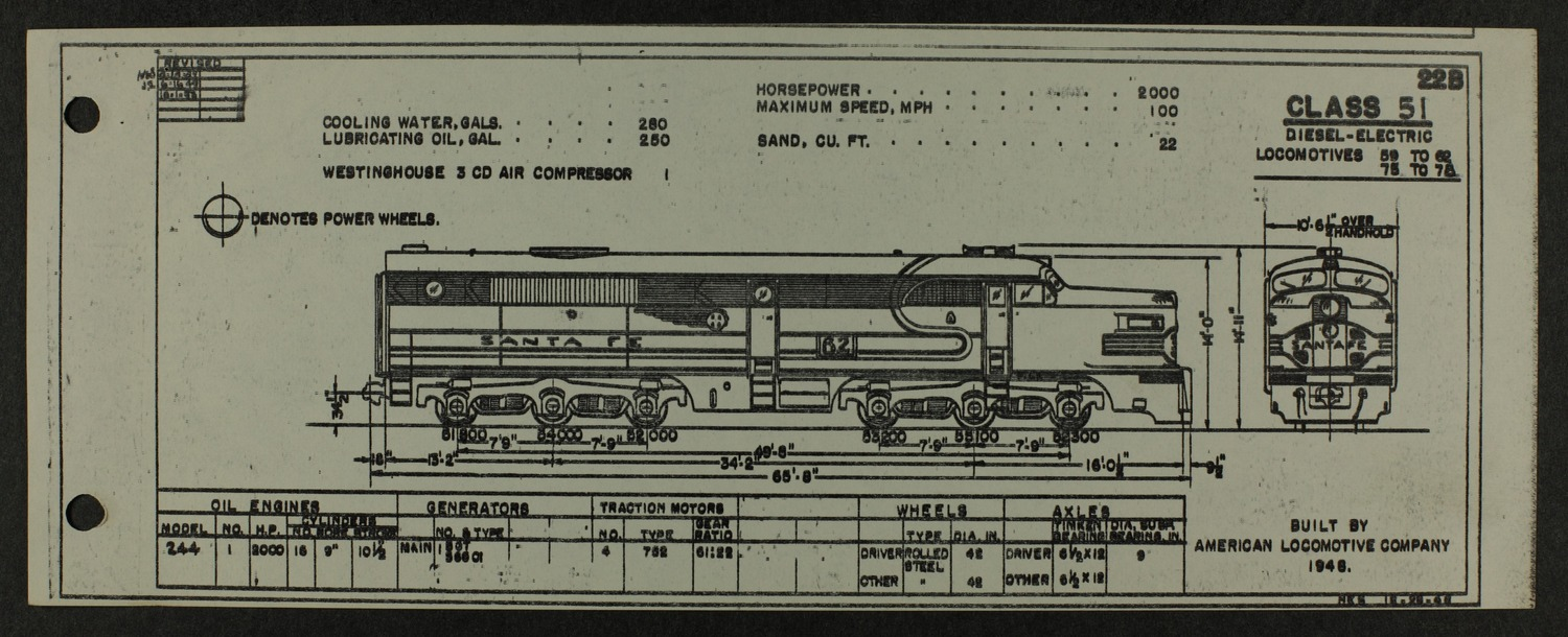 Atchison, Topeka and Santa Fe diesel engine diagrams and blueprints - 8