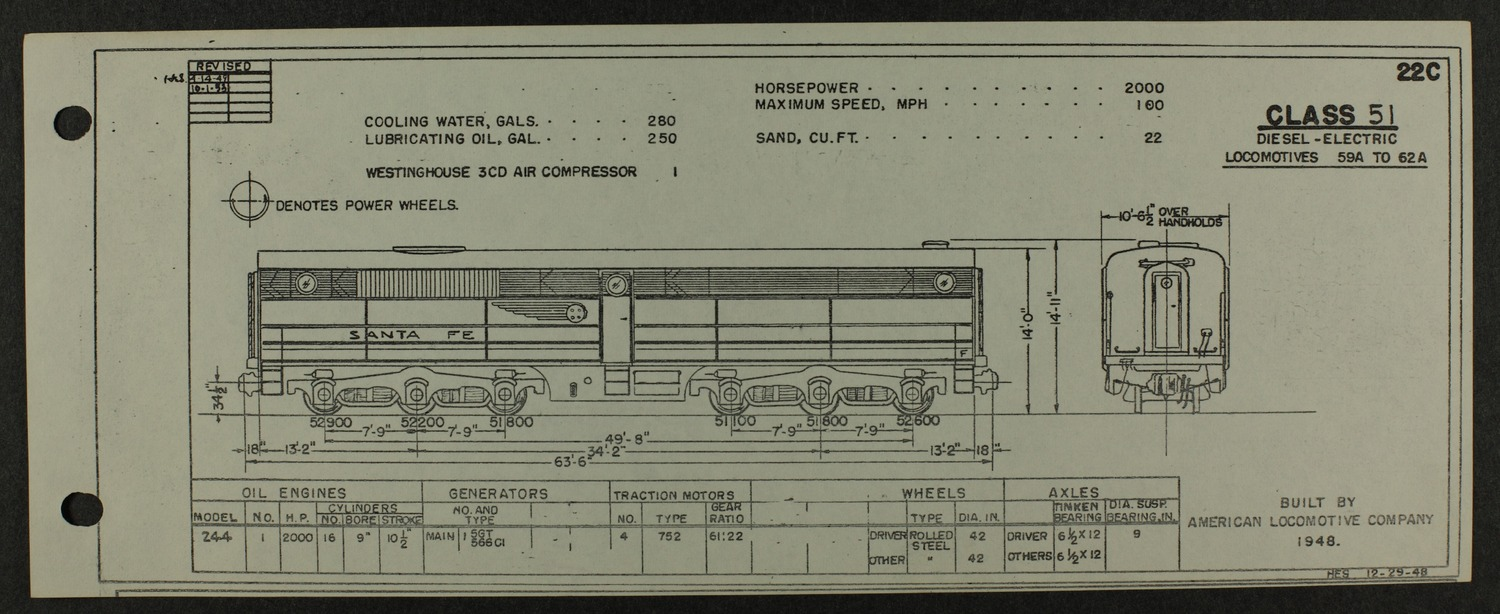 Atchison, Topeka and Santa Fe diesel engine diagrams and blueprints - 9
