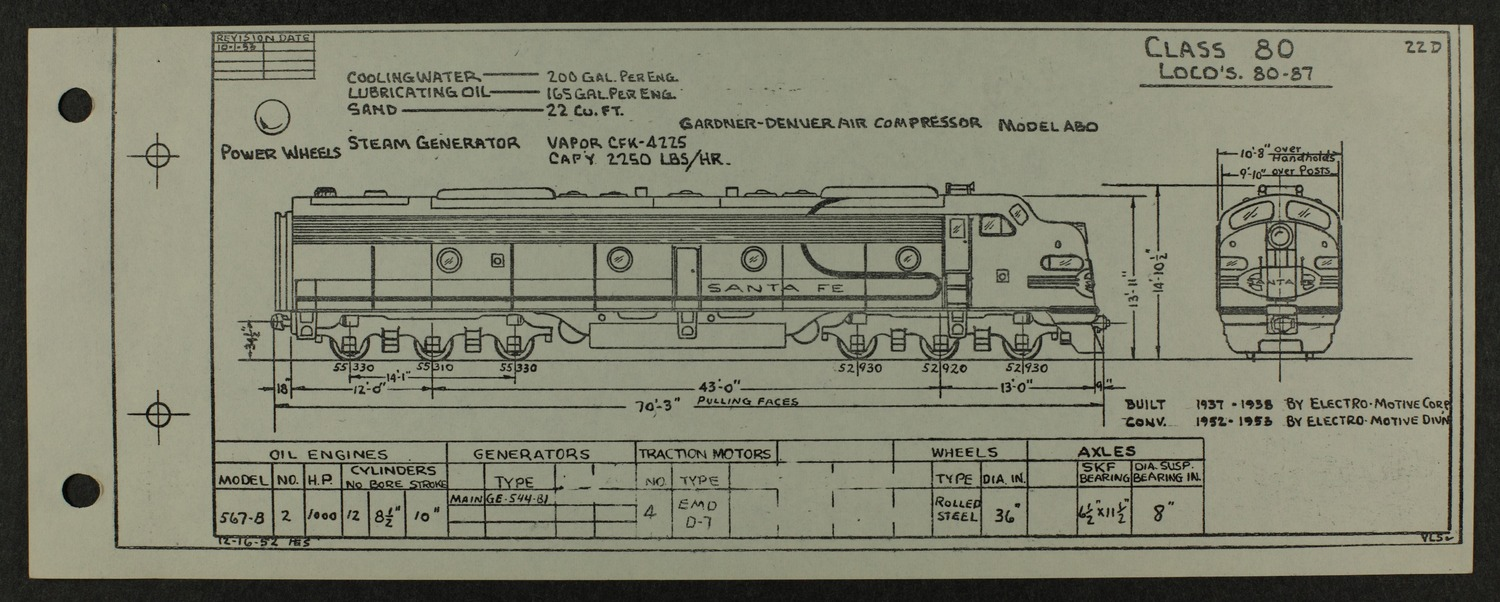 Atchison, Topeka and Santa Fe diesel engine diagrams and blueprints - 10