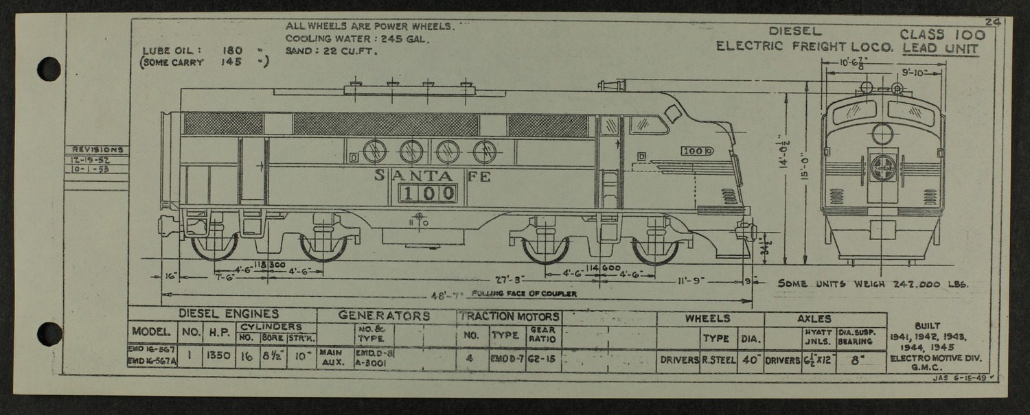Atchison, Topeka and Santa Fe diesel engine diagrams and blueprints - 12