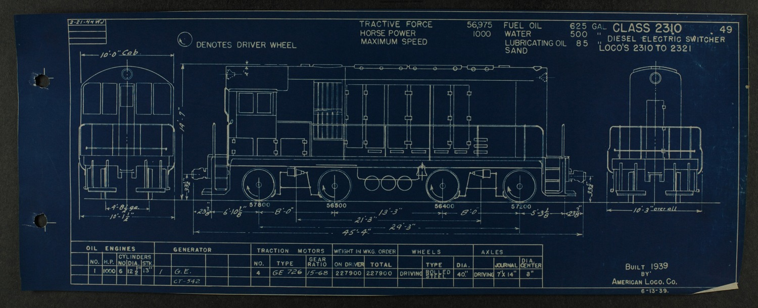 Atchison, Topeka and Santa Fe diesel engine diagrams and blueprints - 112