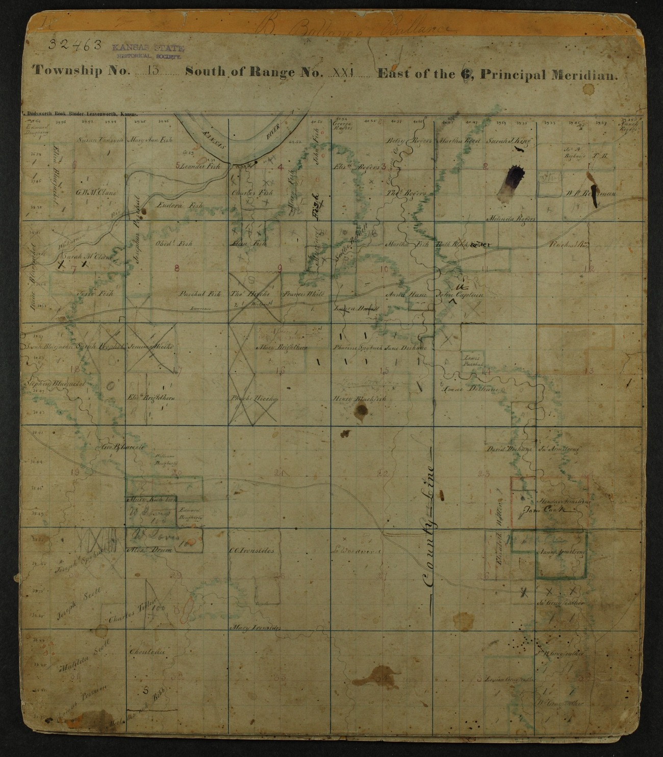 Shawnee Indian reservation plat maps of 1854 - 6