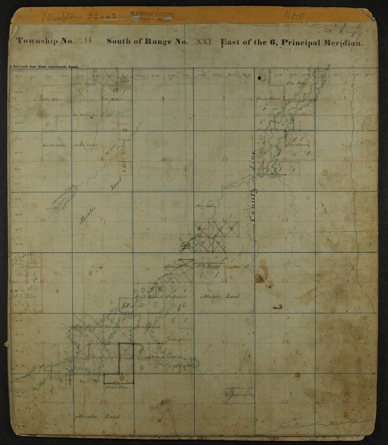 Shawnee Indian reservation plat maps of 1854 - 8