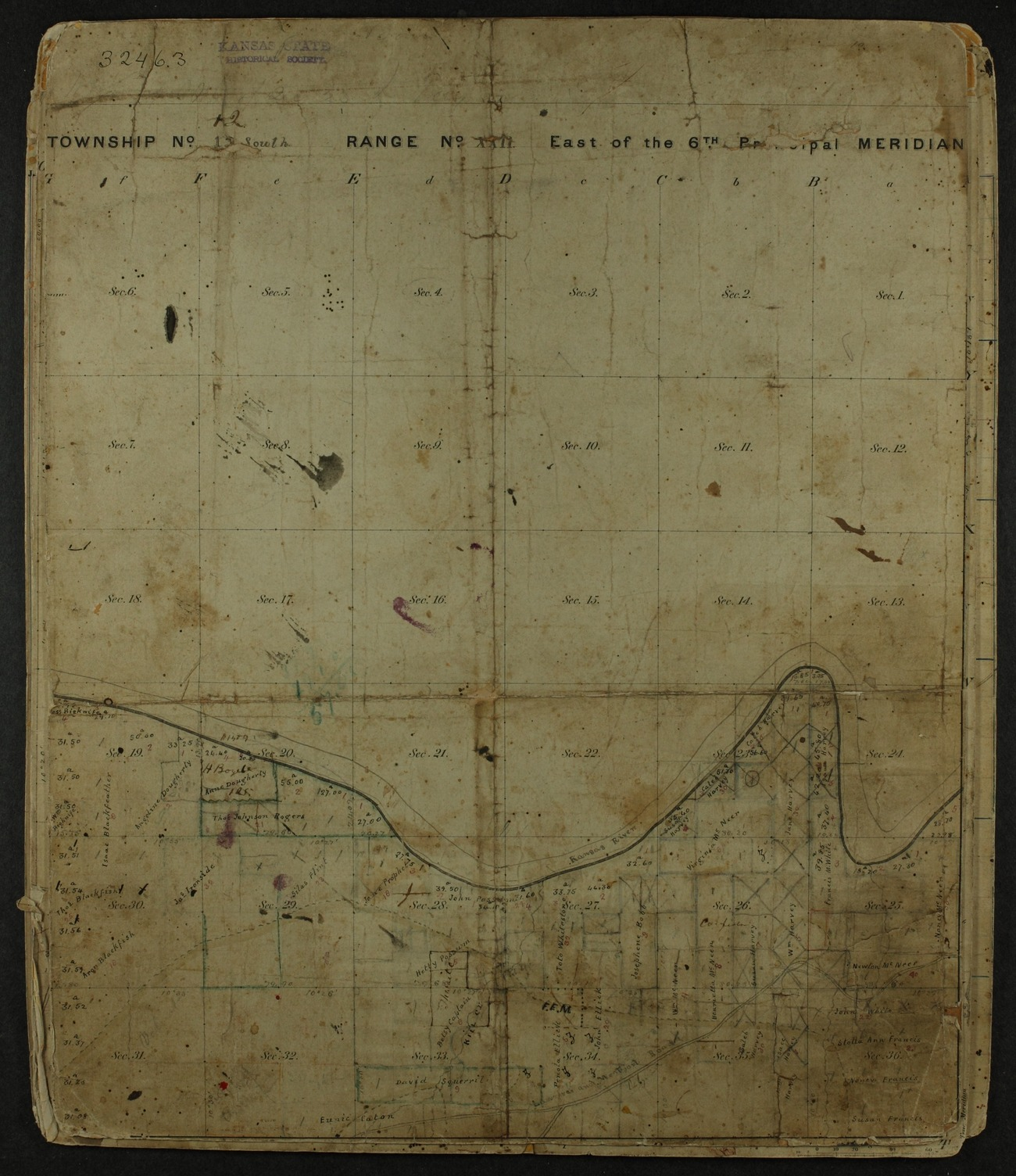 Shawnee Indian reservation plat maps of 1854 - 9