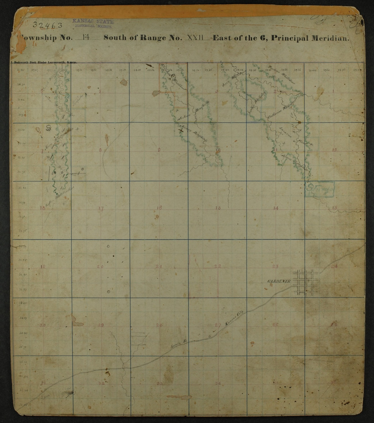 Shawnee Indian reservation plat maps of 1854 - 12