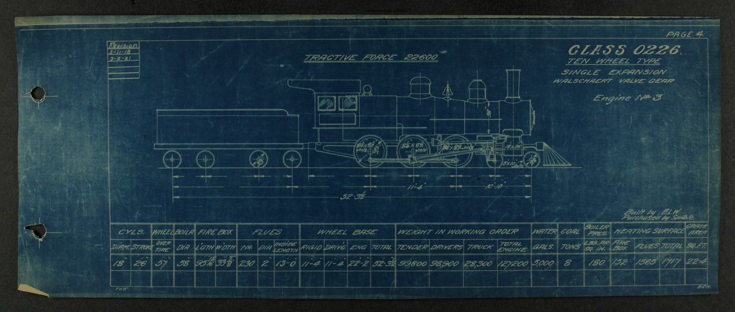 Atchison, Topeka and Santa Fe steam engine diagrams and blueprints - 8