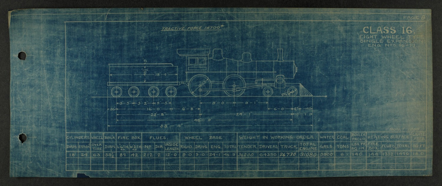 Atchison, Topeka and Santa Fe steam engine diagrams and blueprints - 12