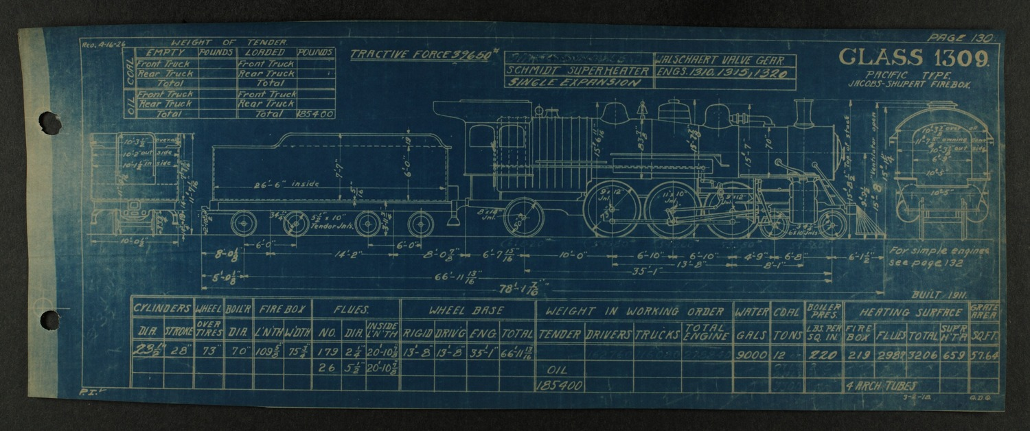 Atchison, Topeka and Santa Fe steam engine diagrams and blueprints - 135