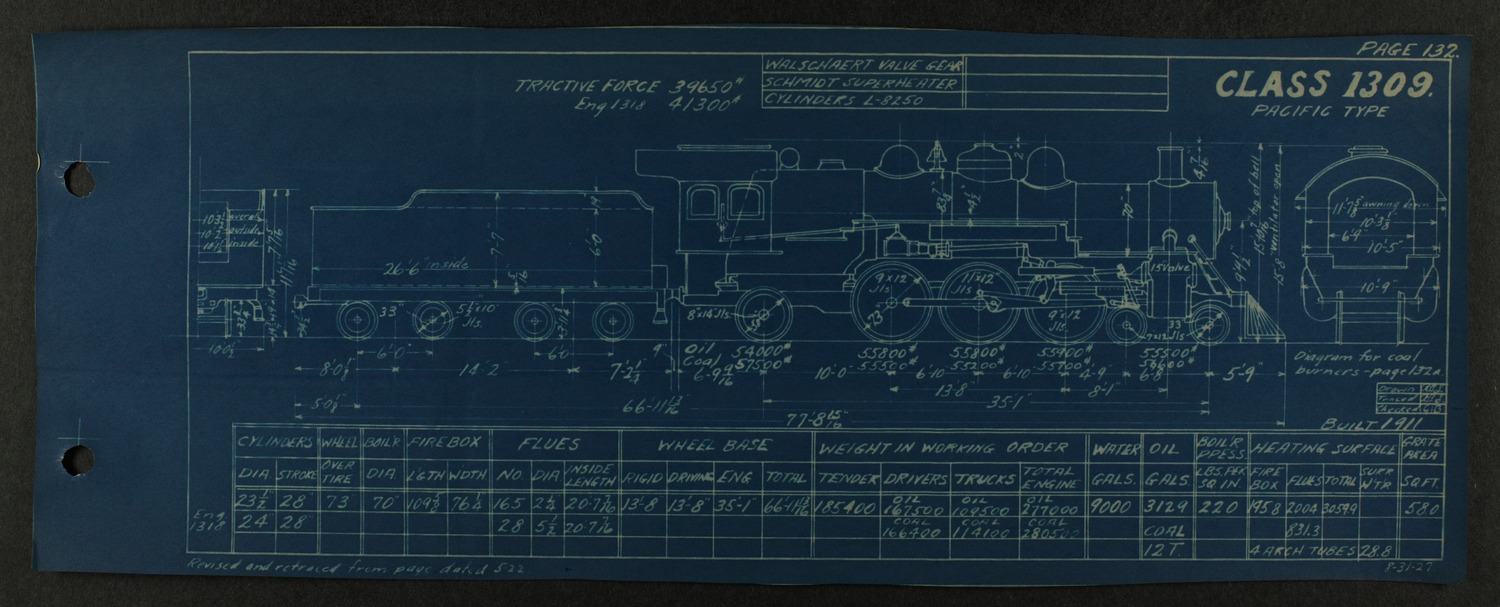 Atchison, Topeka and Santa Fe steam engine diagrams and blueprints - 136