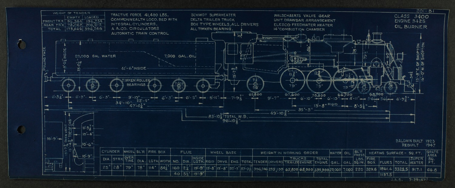 Atchison, Topeka and Santa Fe steam engine diagrams and blueprints - 233
