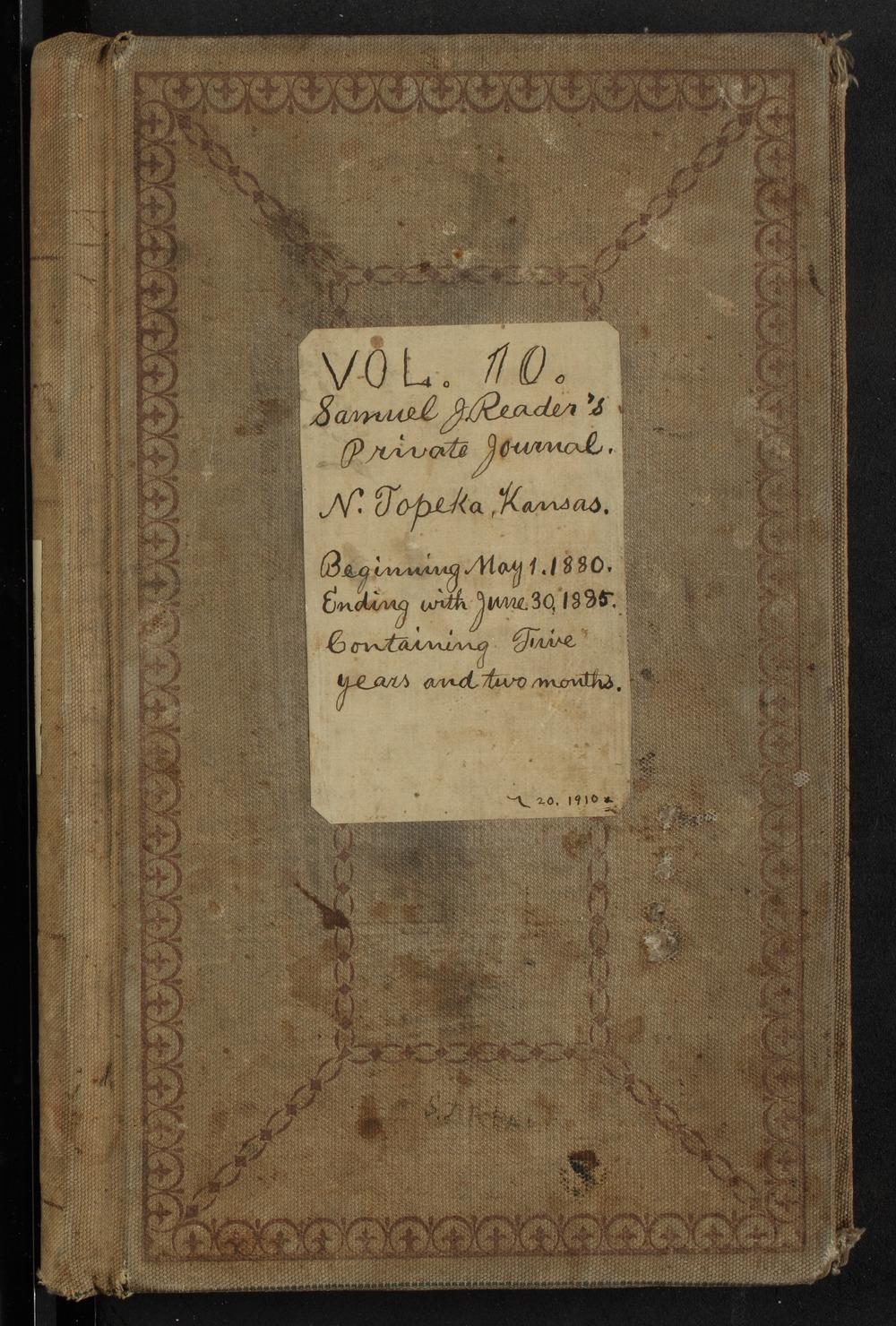 Samuel Reader's diary, volume 10 - Front Cover