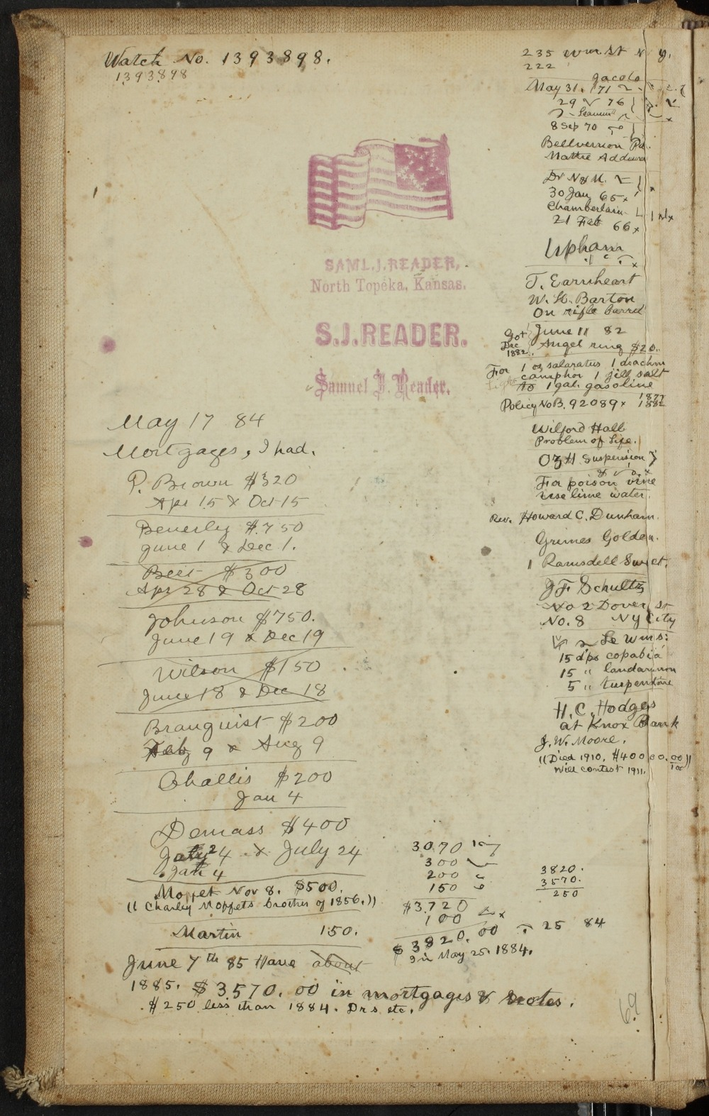 Samuel Reader's diary, volume 10 - Inside Front Cover
