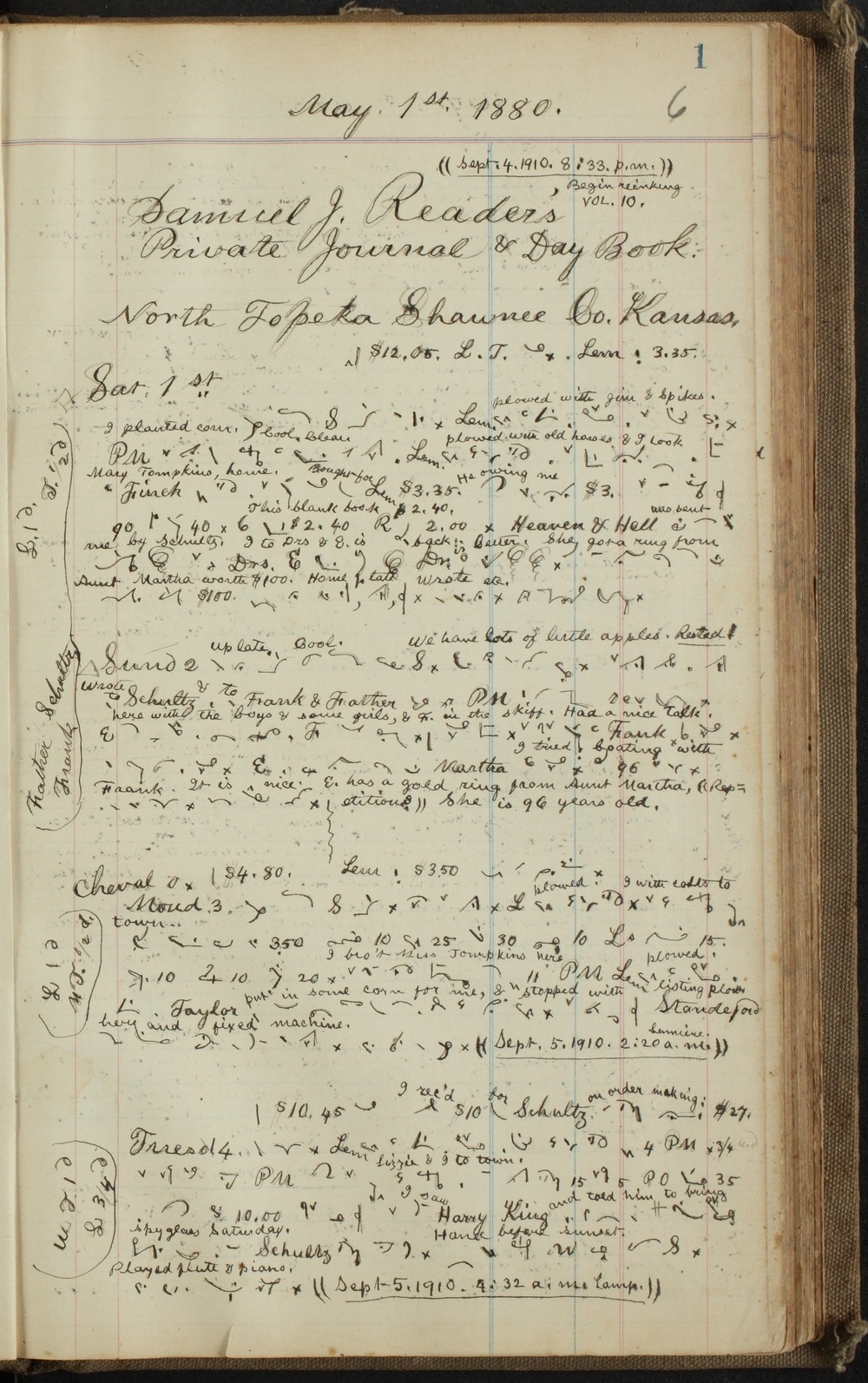 Samuel Reader's diary, volume 10 - 1