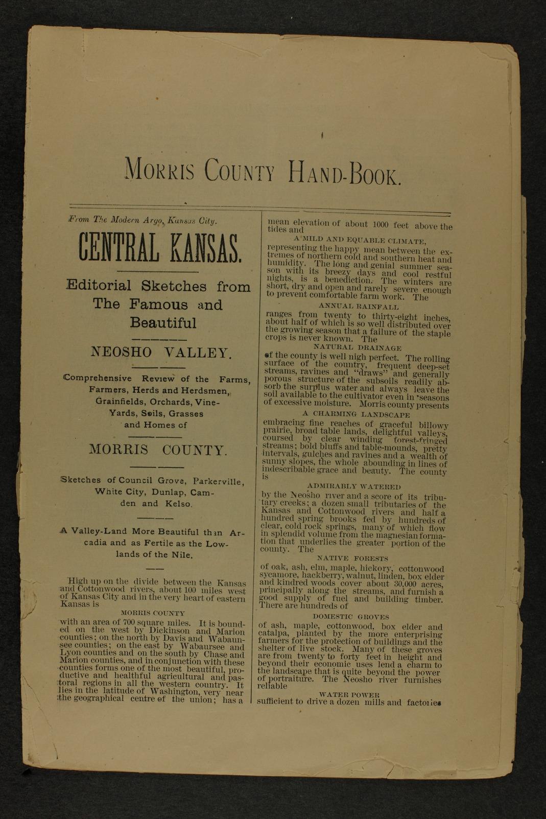 Handbook of Morris County, Kansas - 1