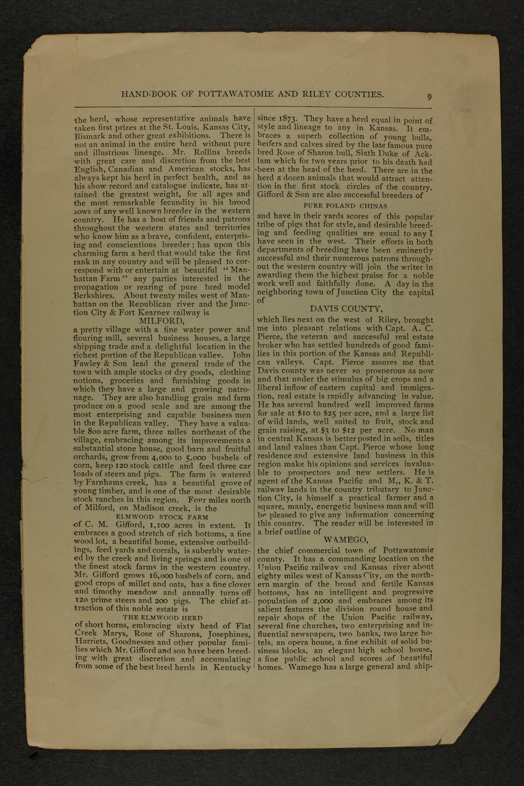 Handbook of Pottawatomie and Riley Counties, Kansas - page 9