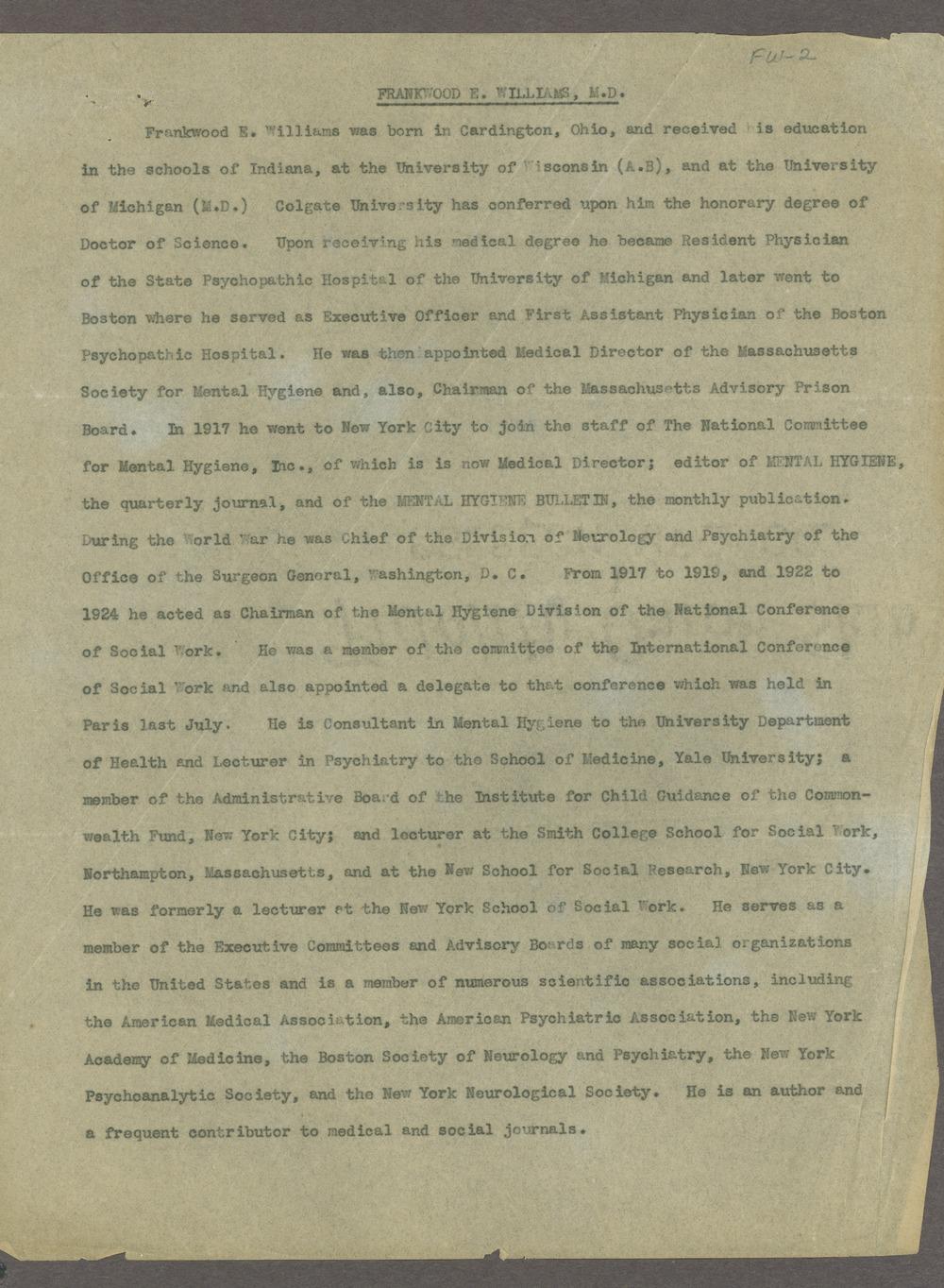 Frankwood E. Williams Papers - Biographical Sketch  (Box 2, folder 1)