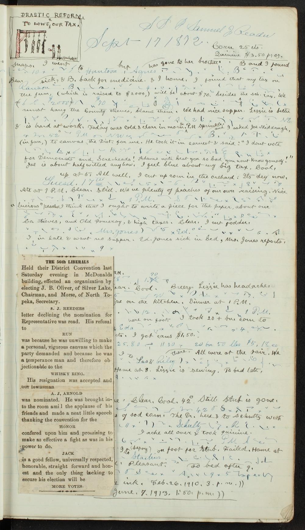 Samuel Reader's diary, volume 8 - 9