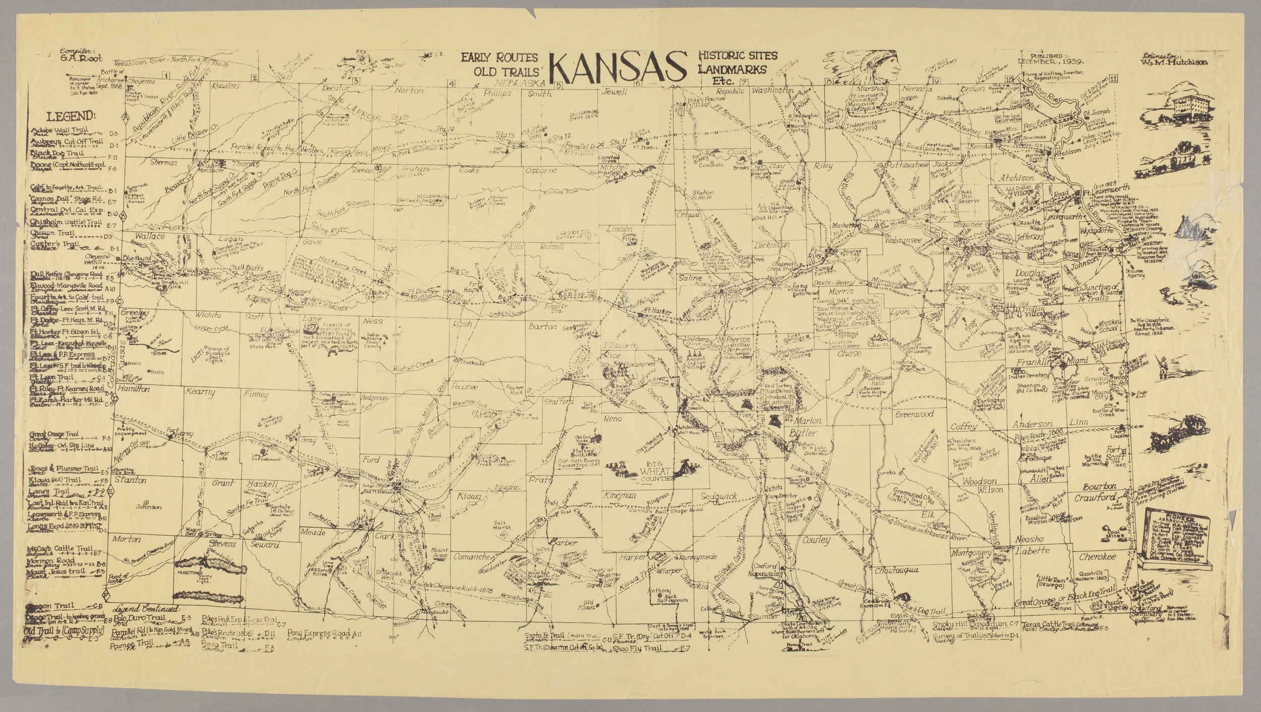 Old Kansas Map.Kansas Early Routes Old Trails Historic Sites Landmarks Etc