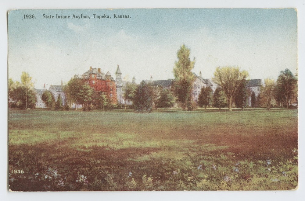 Postcards from various state hospitals - State Insane Asylum Topeka, Kansas (1936)