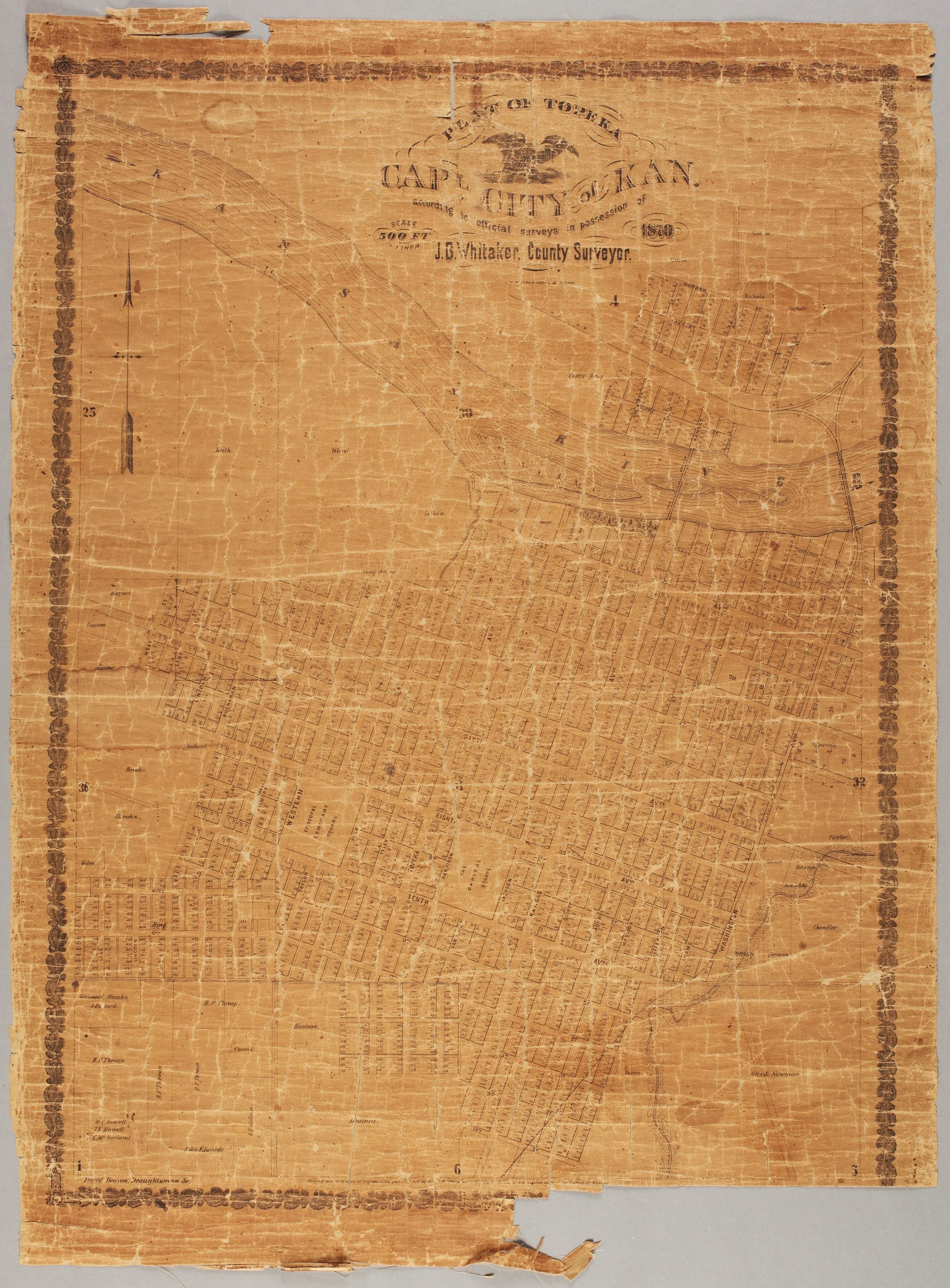 Plat of Topeka. Capital city of Kansas - 2
