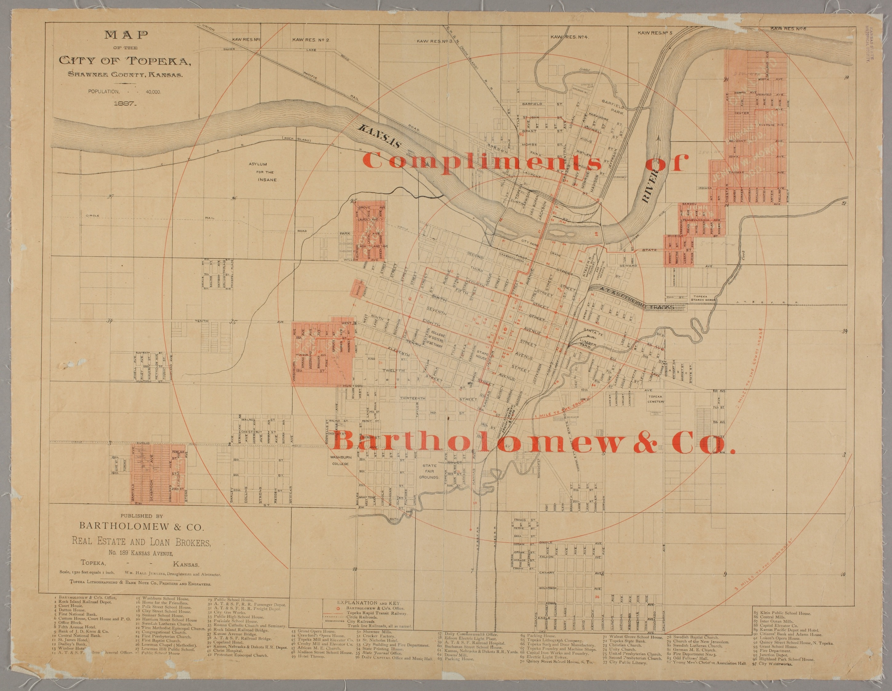 Map of the city of Topeka, Shawnee County, Kansas